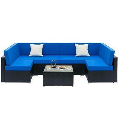 1 7pcs outdoor patio sectional furniture pe