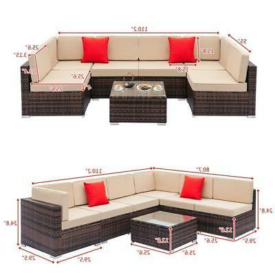11PC Sectional Set Brown /w Cushion