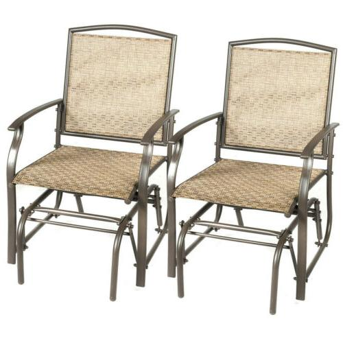 Set of 2 Patio Swing Glider Chair Rocking Single Seat Outdoo