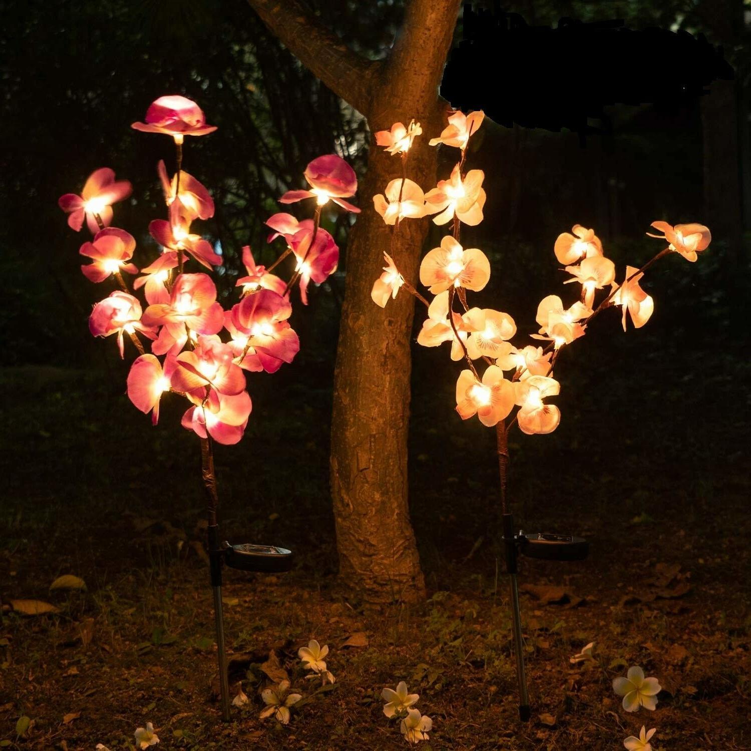 2 PCS Solar Garden Lights Orchid Flowers Stake Lamp For Yard