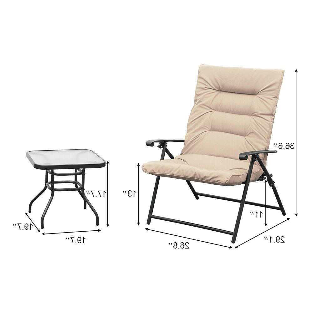 3 Chair Set Adjustable Reclining Reclining Patio Furniture