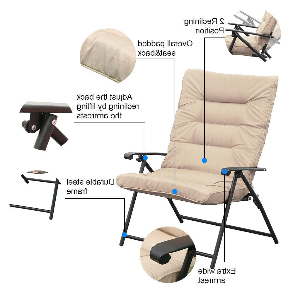 3 PC Folding Set Reclining Patio