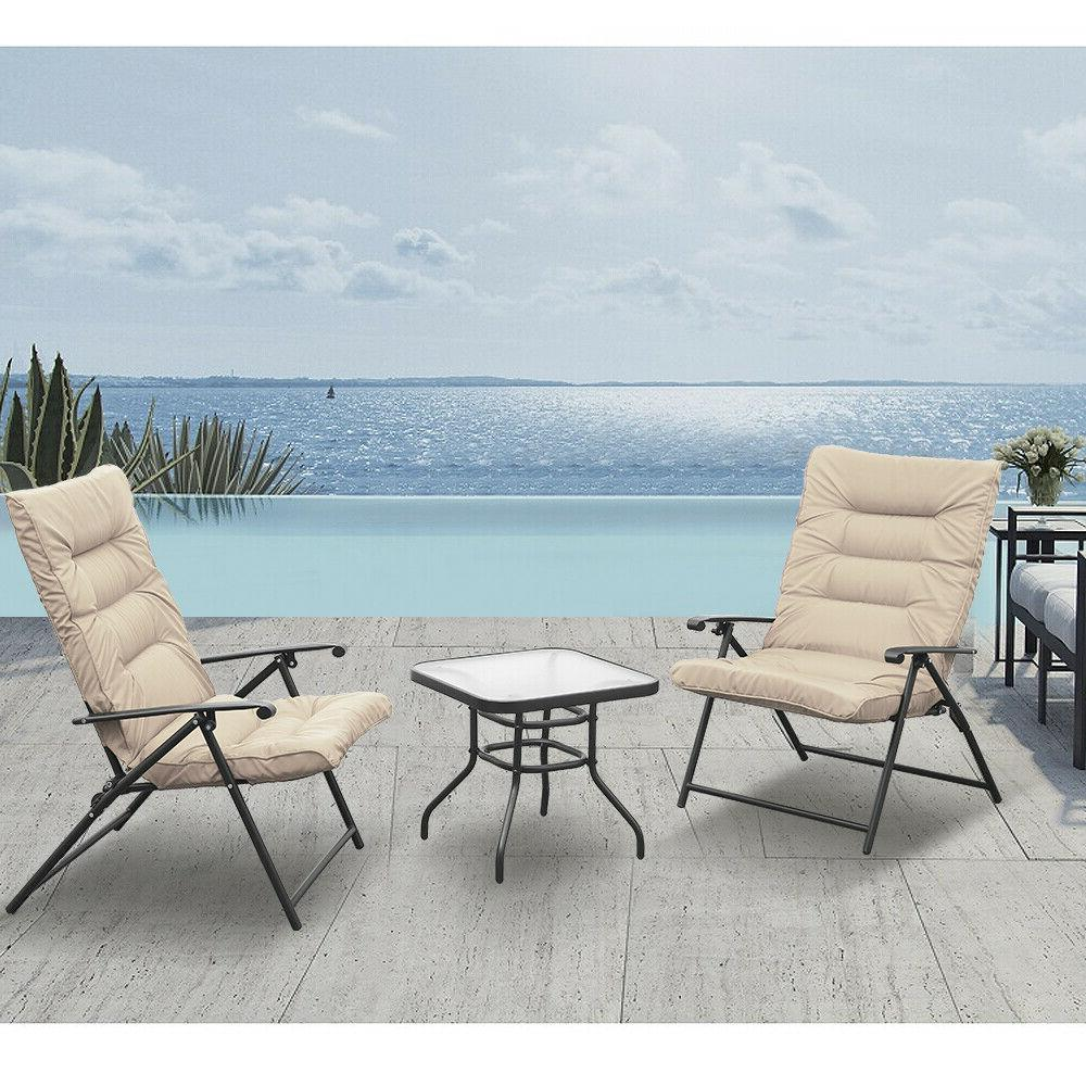 3 PC Folding Chair Set Reclining Adjustable Reclining Patio