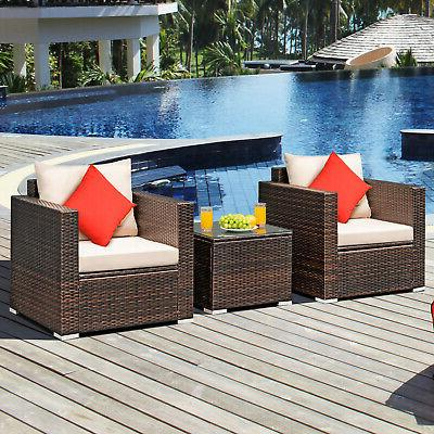 3 Patio Furniture Conversation Sofa Set with Table