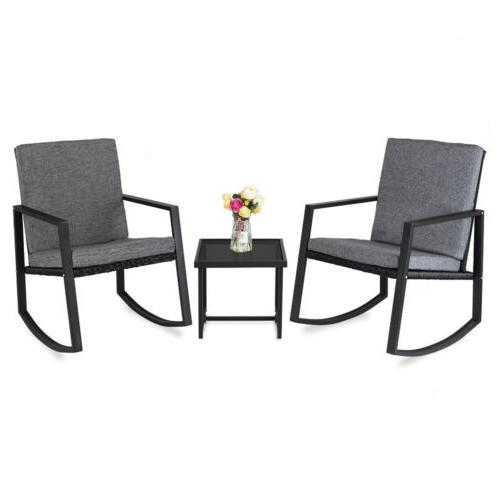 3PCS Bistro Sets Outdoor Front Porch Rocking Chair Garden Pa