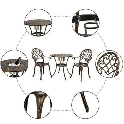 3-Piece Bistro Patio Table Chair Set Outdoor
