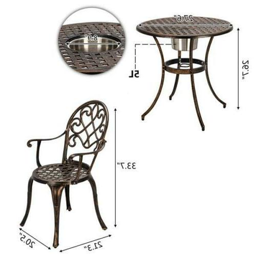 3-Piece Cast Aluminum Bistro Table Chair Outdoor