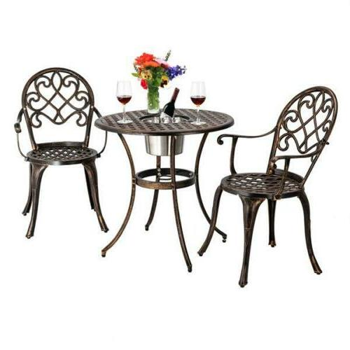 3-Piece Bistro Set Furniture Table Chair Outdoor