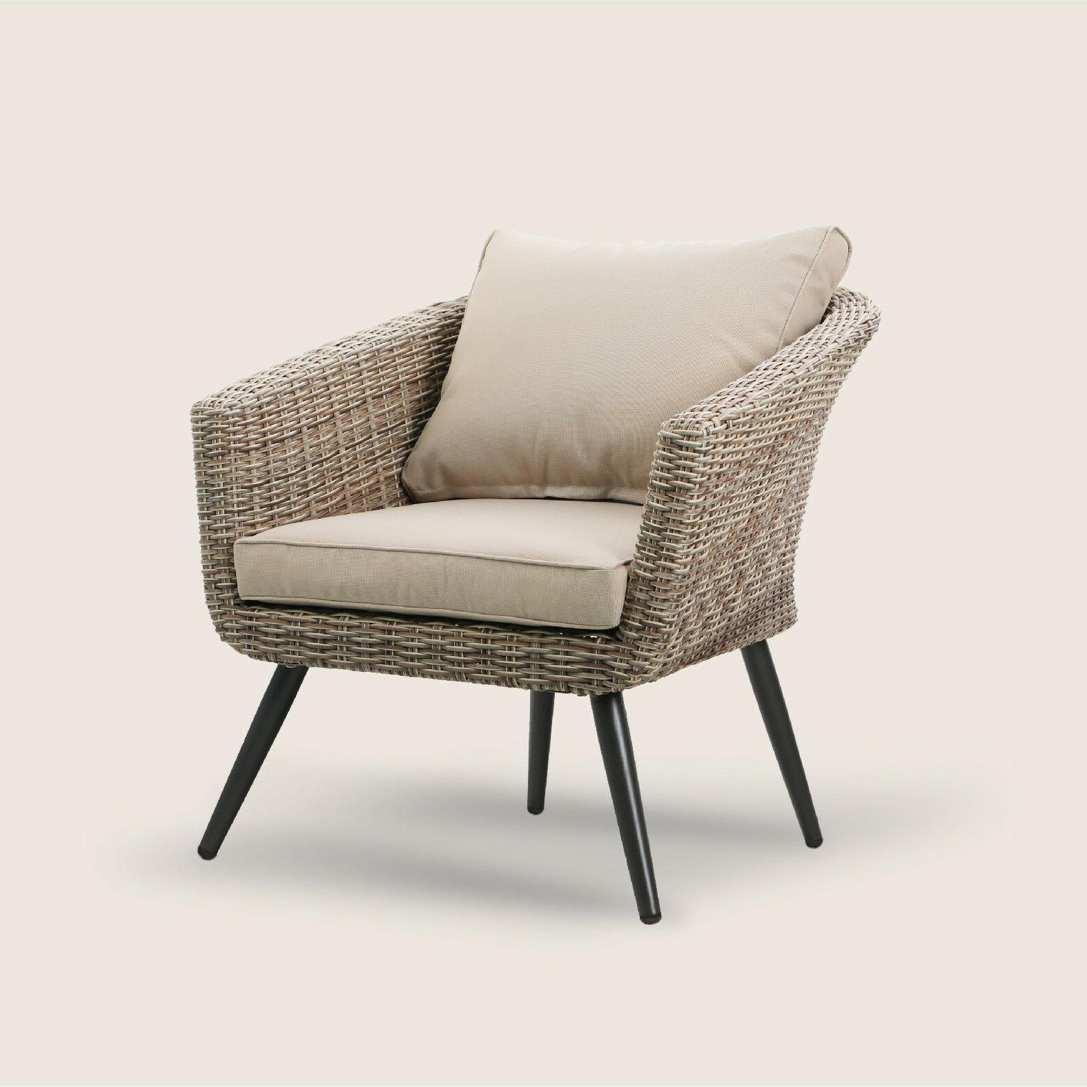 PHI Brushed Barrel Rattan Sofa Chair and Coffee Table