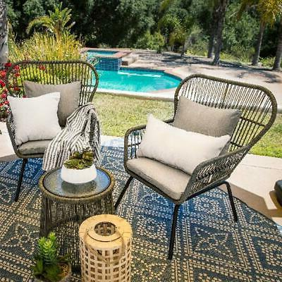 Best Choice Products Patio Wicker Conversation Set w/ 2 Chairs