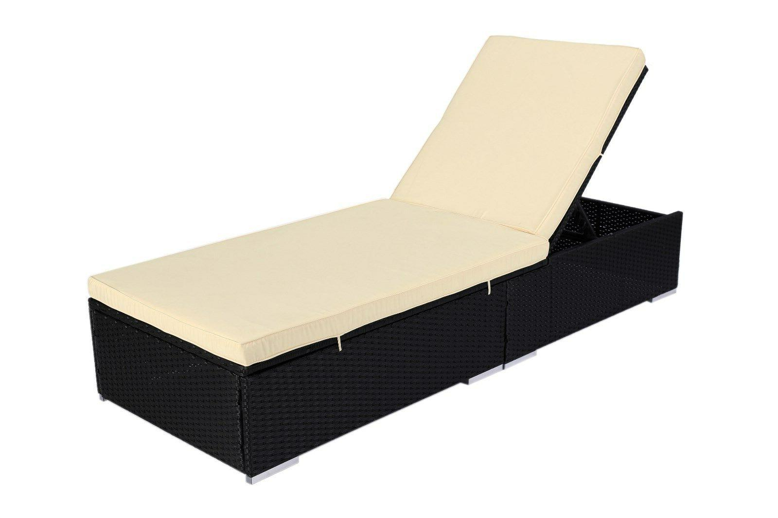 3 Rattan Chaise Bed Set w/Table