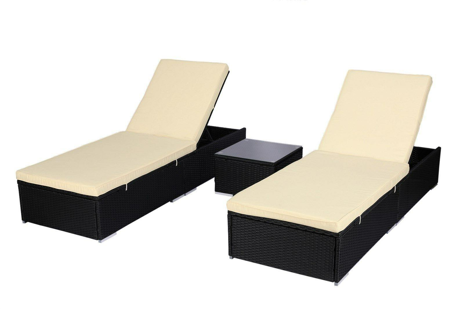 3 Piece PE Rattan Chaise Lounge Bed Set w/Table