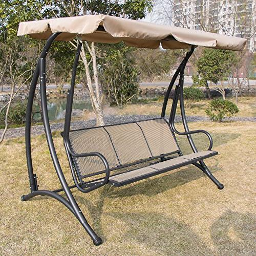 Outdoor 3 seat Canopy Swing Chair Seat Furniture