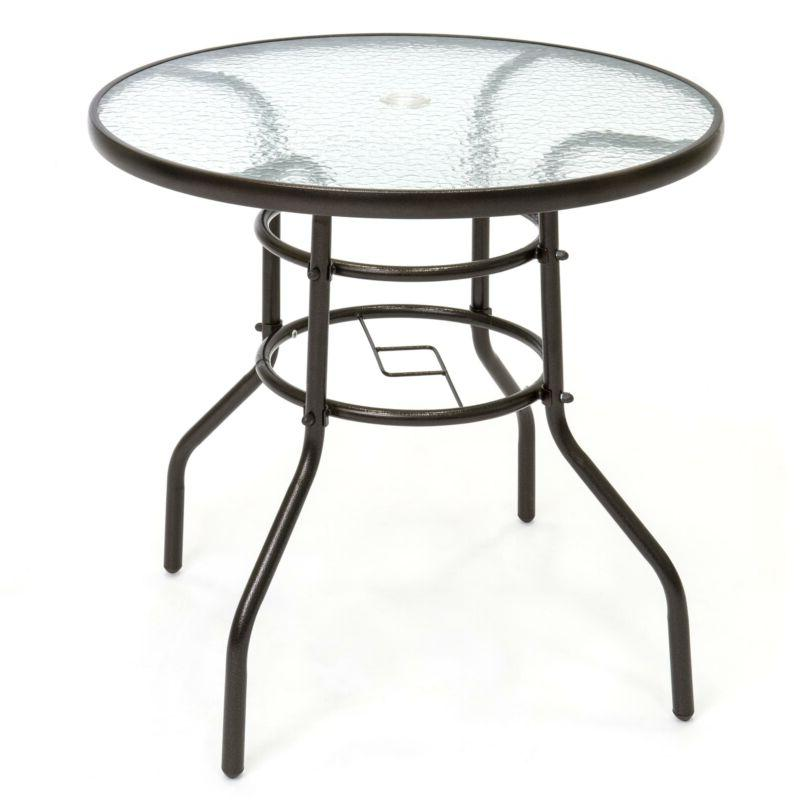 Best Choice Products Round TemperedGlass Patio Dining Bistro Table w/