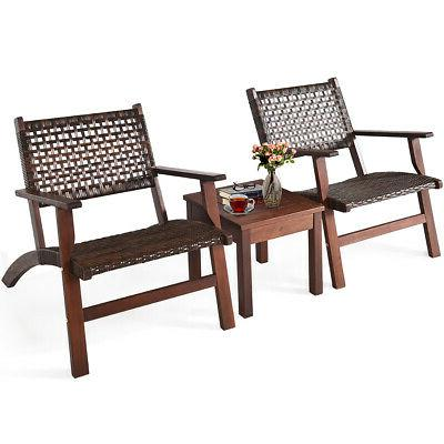 3PCS Outdoor Patio Rattan Furniture Set Solid Wood Frame Cha