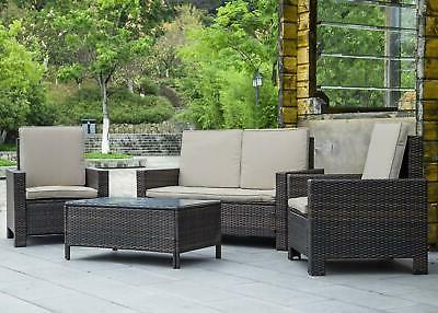 4-piece Outdoor Wicker Rattan Sofa Set Patio Sectional Furni