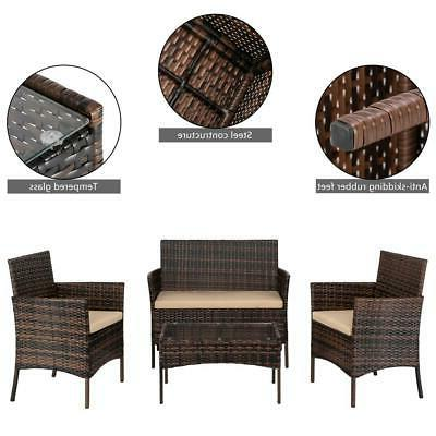 4PC Outdoor Patio Lawn Sofa Set Furniture Table Brown