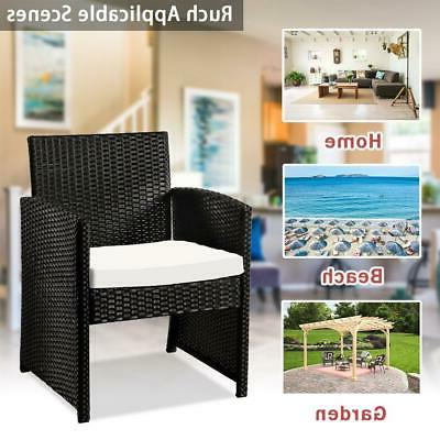 4 Pieces Outdoor Furniture Sets Sectional Rattan Chair