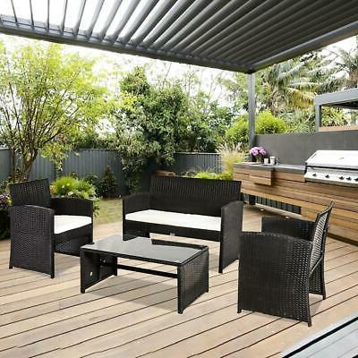 4 Pieces Outdoor Patio Furniture Sets Sectional Rattan Set