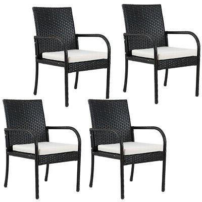 4pcs rattan wicker chair cushioned seat dining
