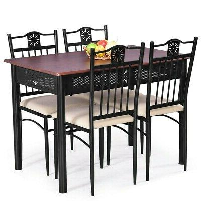 5 Dining Set Table 4 Chairs With Cushions