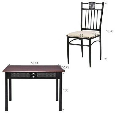 5 Piece Set Metal Table 4 Chairs Cushions Restaurant Diner