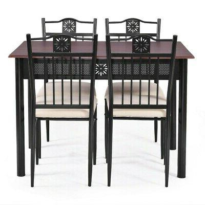 5 Piece Wood Dining Set Metal Table And 4 With Restaurant