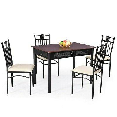 5 Wood Dining Set Metal 4 Cushions Restaurant