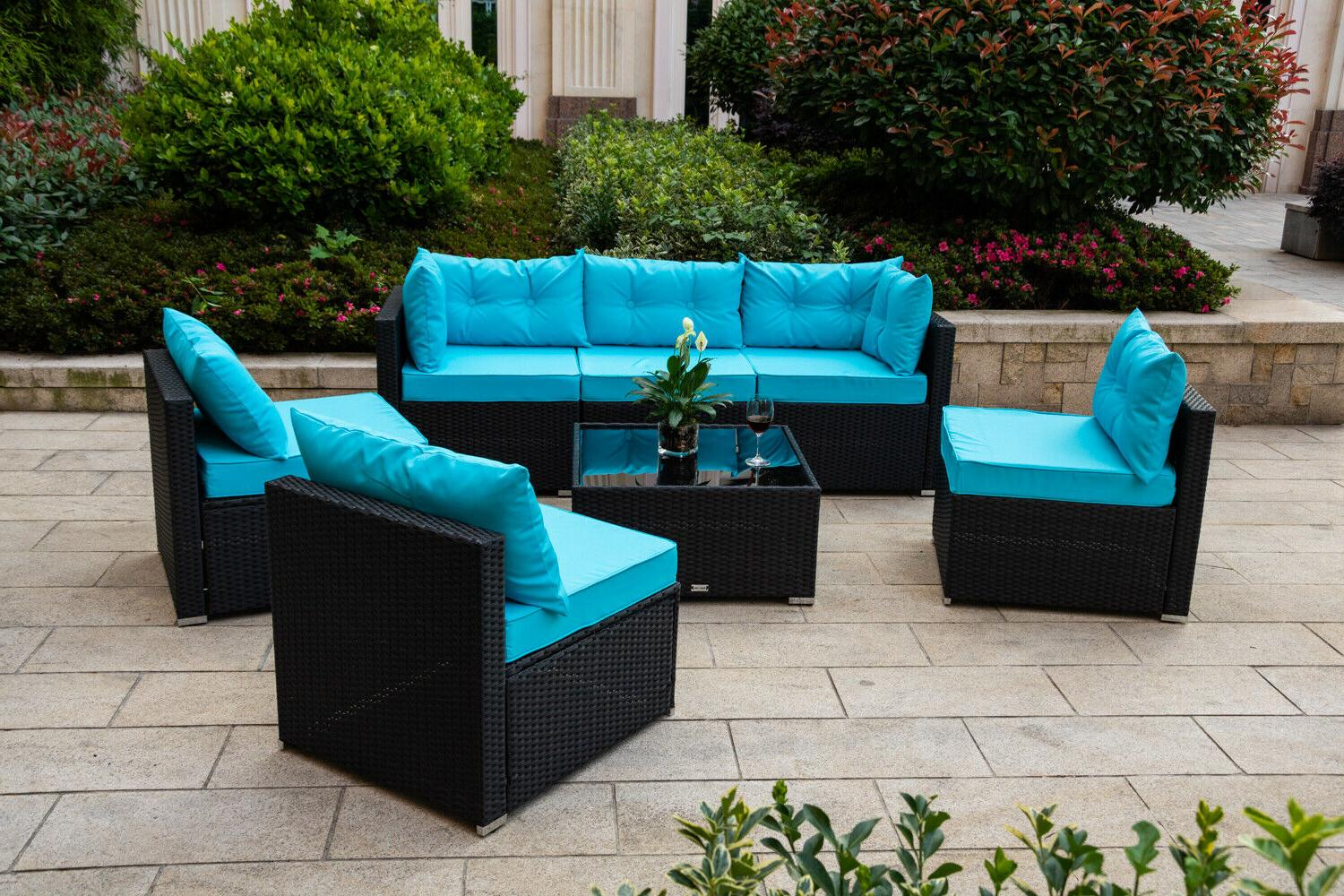 7 PC Garden Furniture Blue