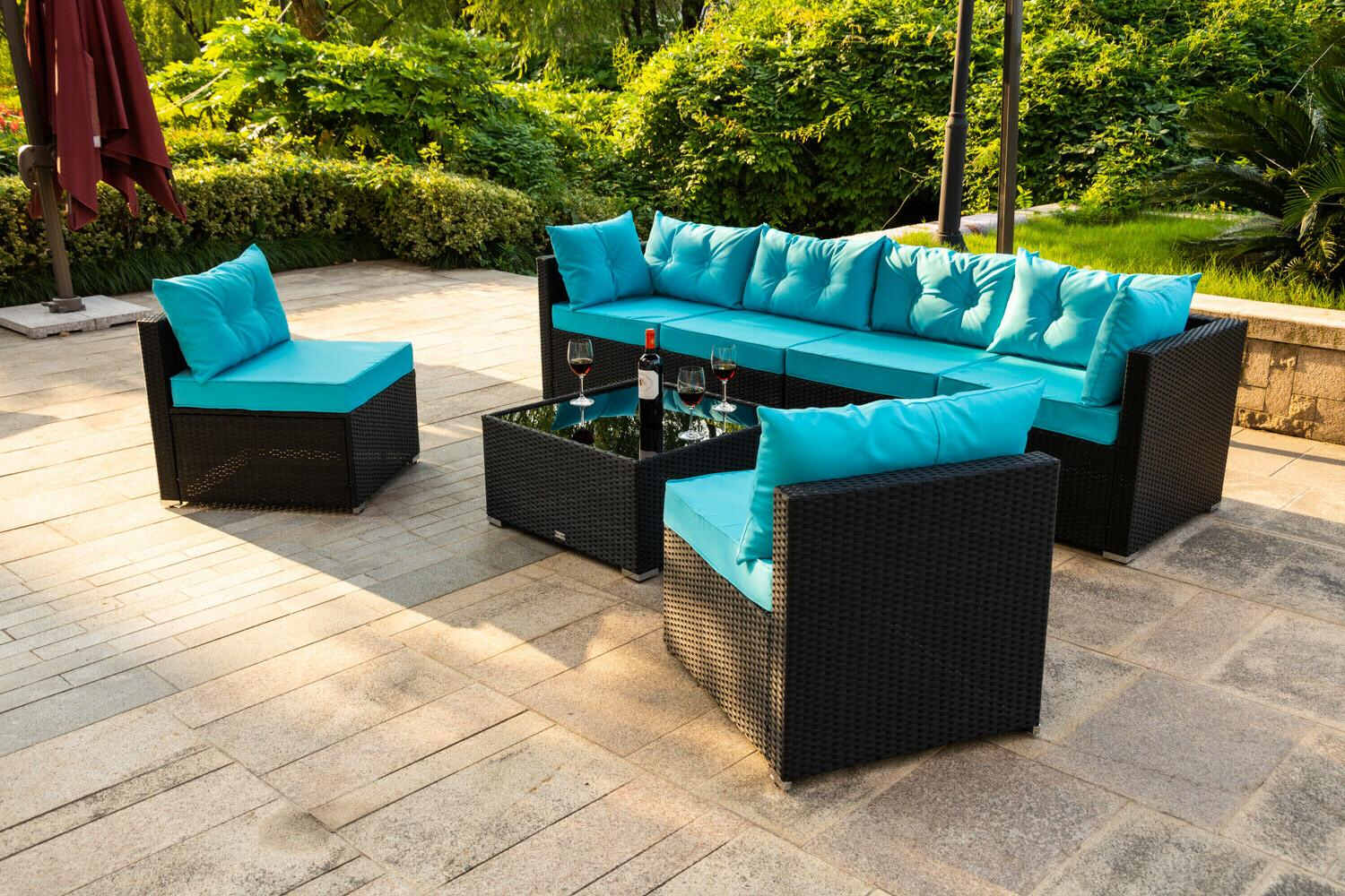7 Patio Garden Set Blue