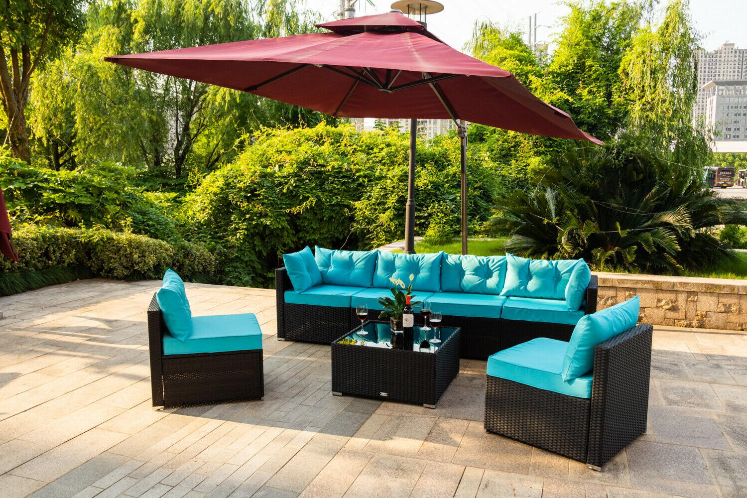 7 Outdoor Garden Furniture Sectional Sofa Set Rattan Blue