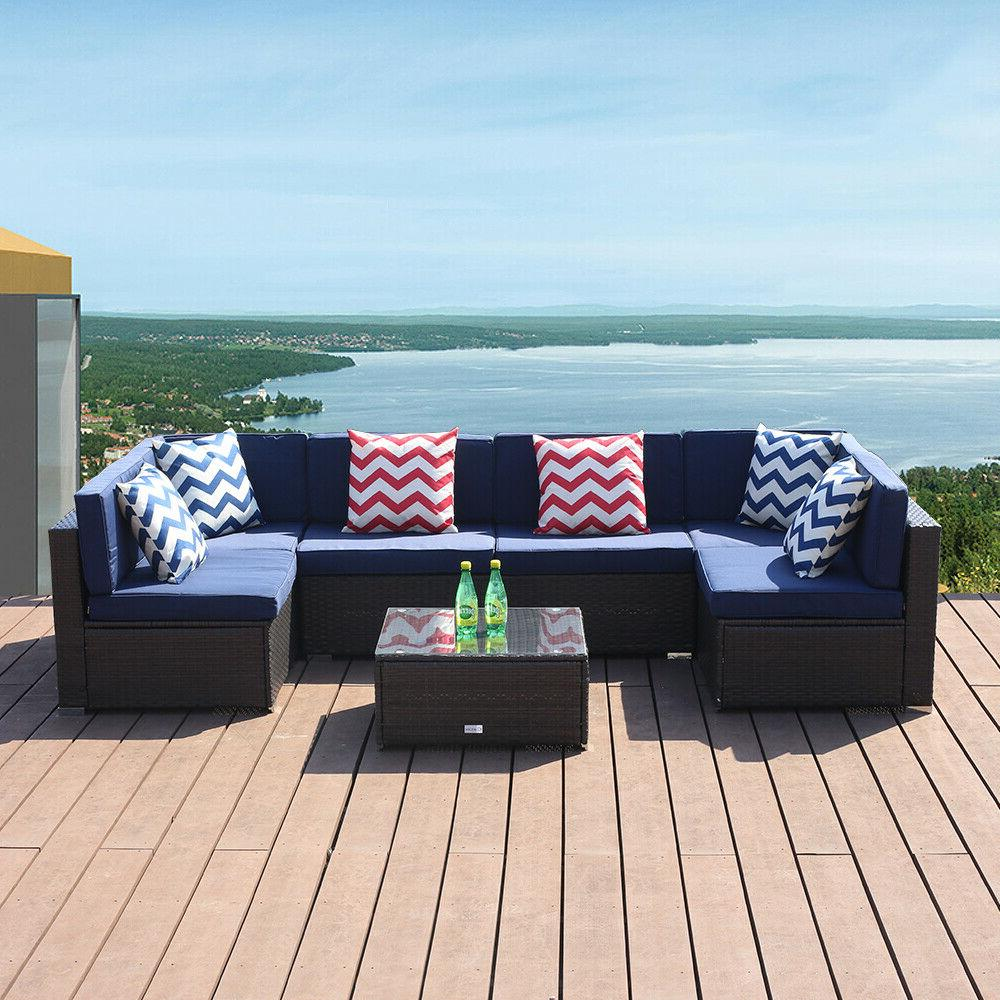 7 PC Patio Sofa Conversation Sectional Checkered Wicker Ratt