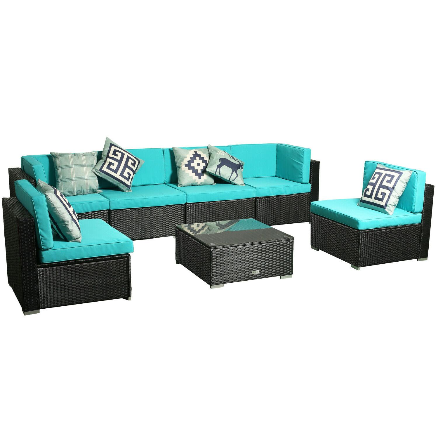 7 Conversation Sectional Rattan Seating