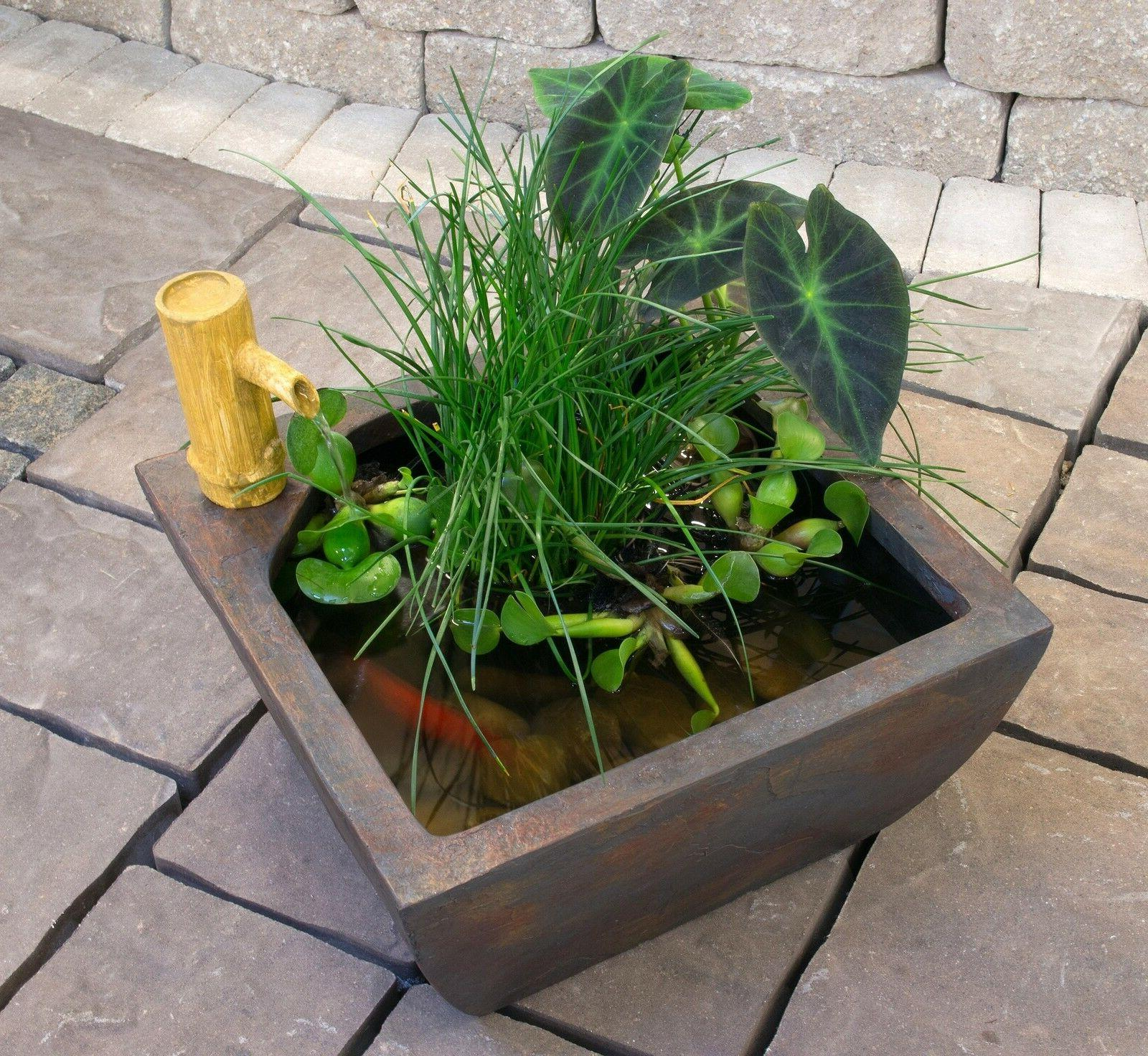 "Aquascape Patio Pond Kit w/Bamboo Fountain 16"" square-water"