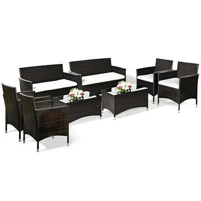 8 PCS Garden Rattan Furniture Table Cushioned