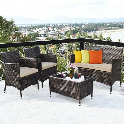 8-Piece Patio Outdoor Chair Coffee
