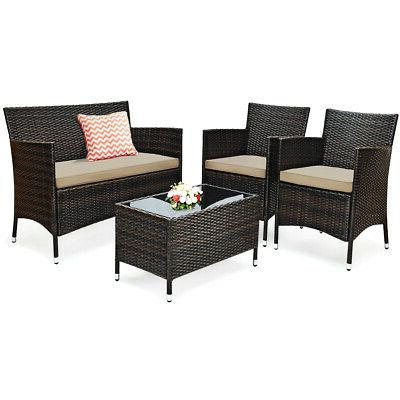 8-Piece Rattan Patio Furniture Outdoor Conversation Chair Table