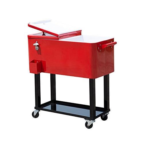 Outsunny Ice Chest Party Drink Cooler - Red
