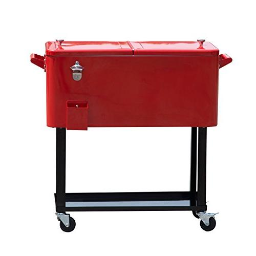 Outsunny 80 Ice Portable Party Cooler Cart -