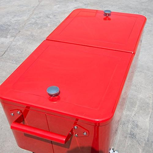 Outsunny QT Rolling Ice Chest Party Cooler - Red