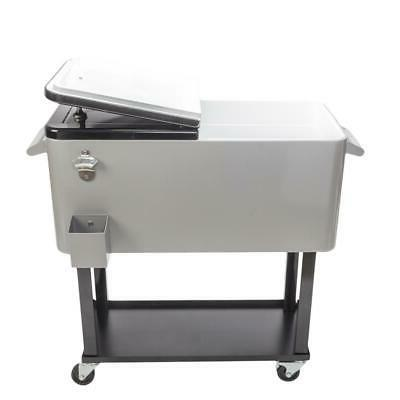 80QT Rolling Warm Food Cart Ice Chest Patio Steel