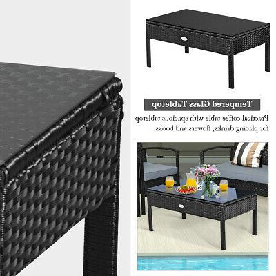 8PCS Outdoor Furniture Cushioned