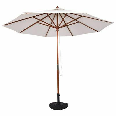 Adjustable 9FT Wooden Patio Umbrella Wood Outdoor Garden Sun Shade