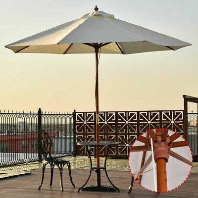 adjustable 9ft wooden patio umbrella wood pole