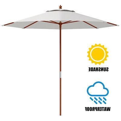 Umbrella Wood Outdoor Garden Sun