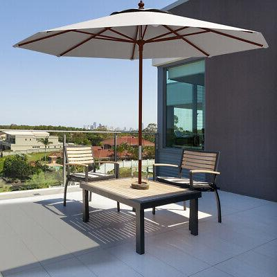 Adjustable Umbrella Wood Outdoor Garden Shade