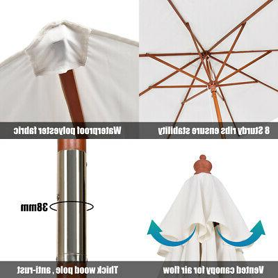 Adjustable 9FT Umbrella Wood Garden Sun Beige