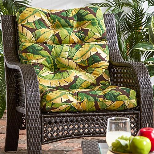 Outdoor High Cushion, Leaves Green