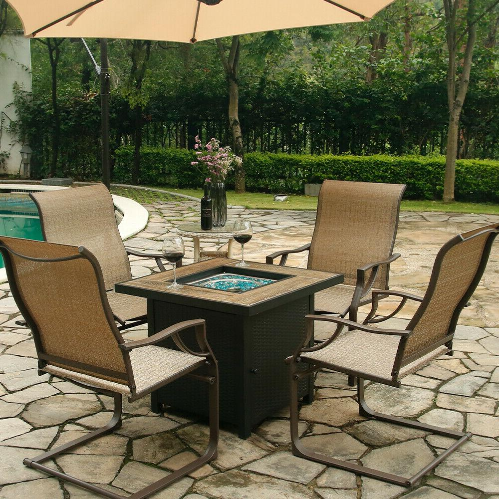 Bali Outdoor All-Weather Spring Motion Teslin Chairs of