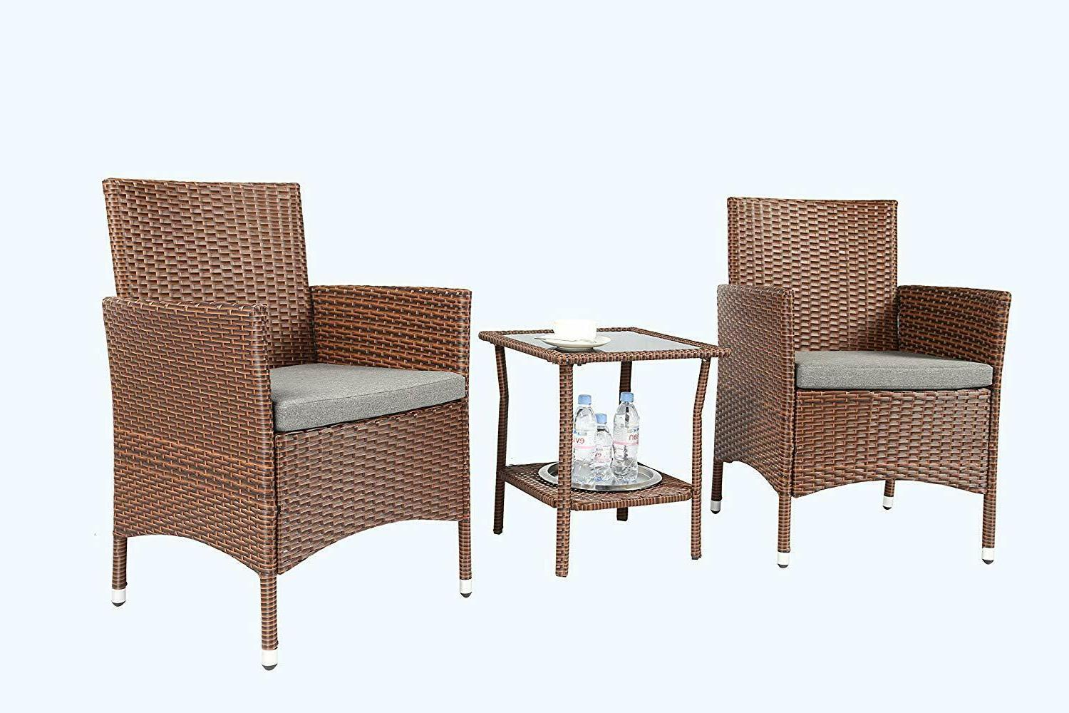 Baner 3 Pieces Outdoor Furniture Complete Cushion PE